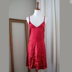 Women's NEW Red Satin Skater Dress, X-Large
